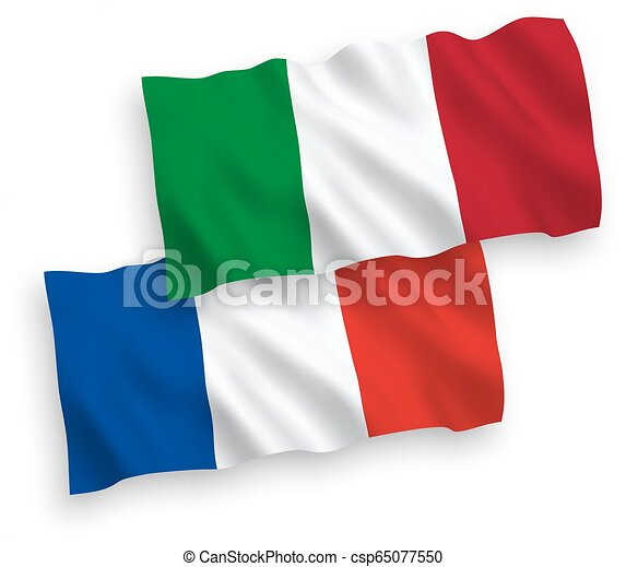 Flags of France and Italy on a white background - csp65077550