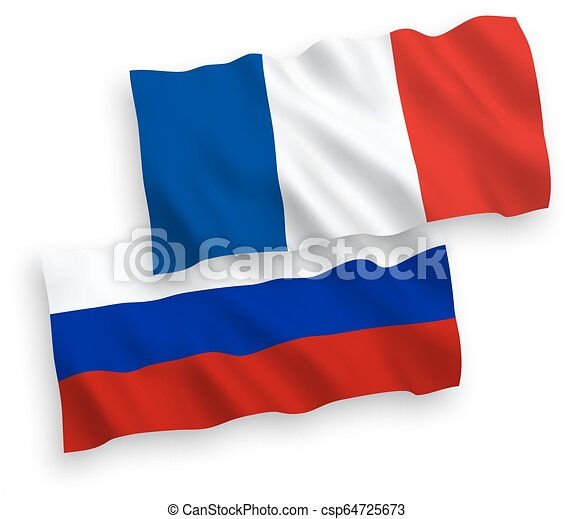 Flags of France and Russia on a white background - csp64725673