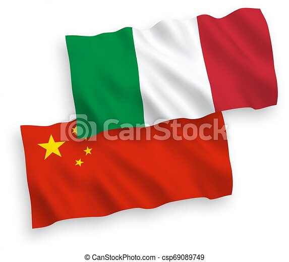 Flags of Italy and China on a white background - csp69089749