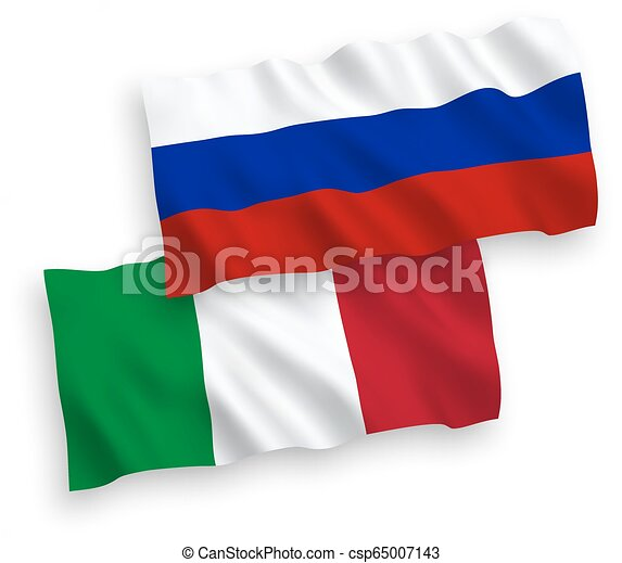 Flags of Italy and Russia on a white background - csp65007143