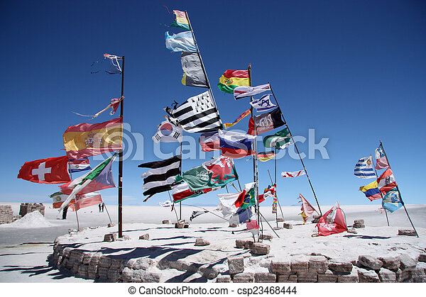 Flags of many countries in Uyuni - csp23468444