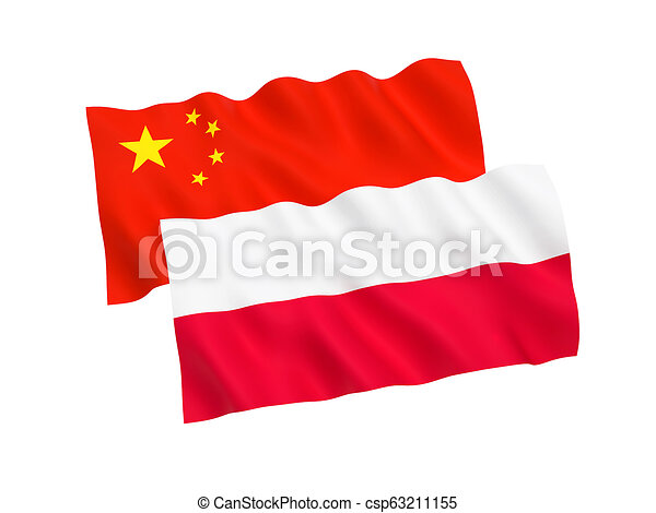 Flags of Poland and China on a white background - csp63211155