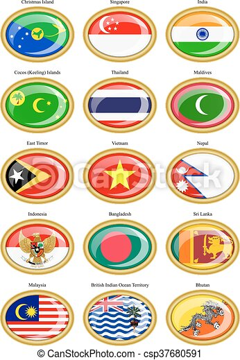Flags of the Southern Asia. - csp37680591