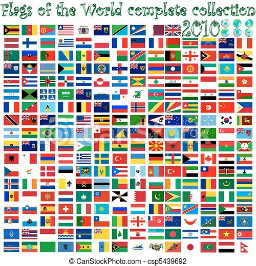 flags of the world and earth globes - csp5439692