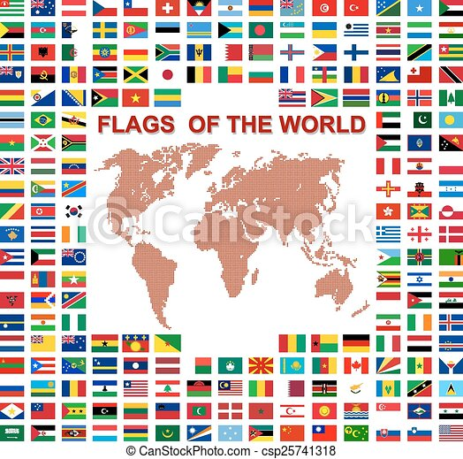 Flags of the world and  map on white background. Vector illustra - csp25741318