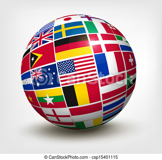 Flags of the world in globe. Vector illustration. - csp15401115