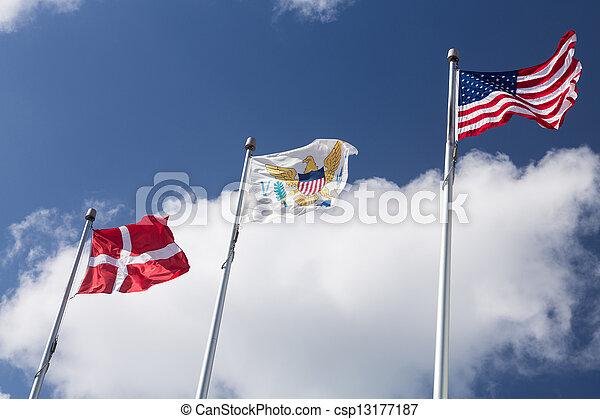 Flags of USVI in St Thomas - csp13177187