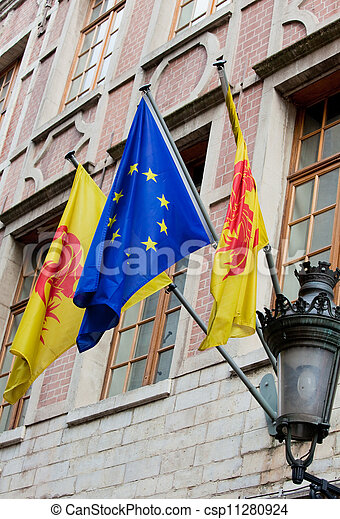 Flags of Wallonia and Europe - csp11280924