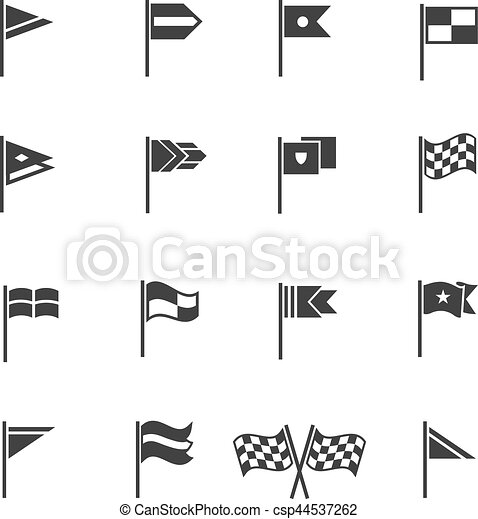 Flags pictograms. Vector start and finish flag icons - csp44537262
