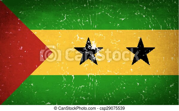 Flags Sao Tome Principe with broken glass texture. Vector - csp29075539