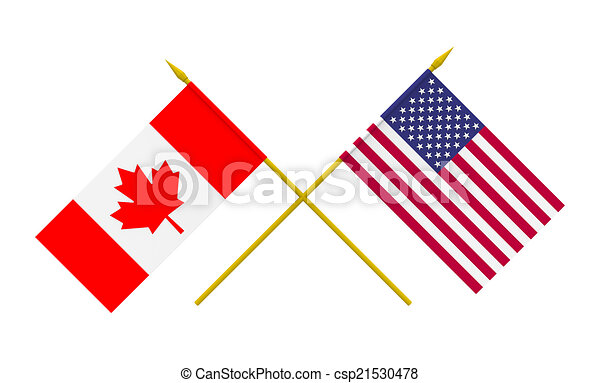 Flags, USA and Canada - csp21530478
