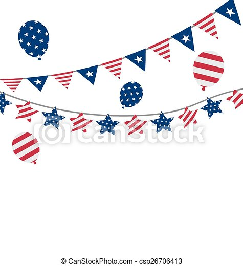 Flags Usa Set Bunting Red White Blue Stars And Stripes For