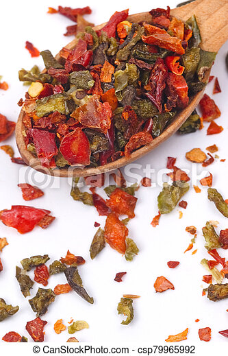 Flakes of red and green pepper. - csp79965992