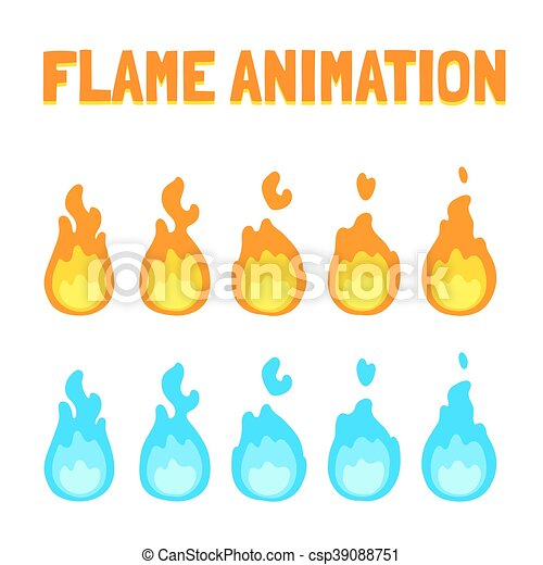 Flame animation for game. Cartoon flame animation for game. normal ...