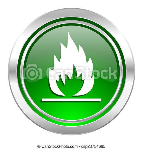 flame icon, green button - csp23754665