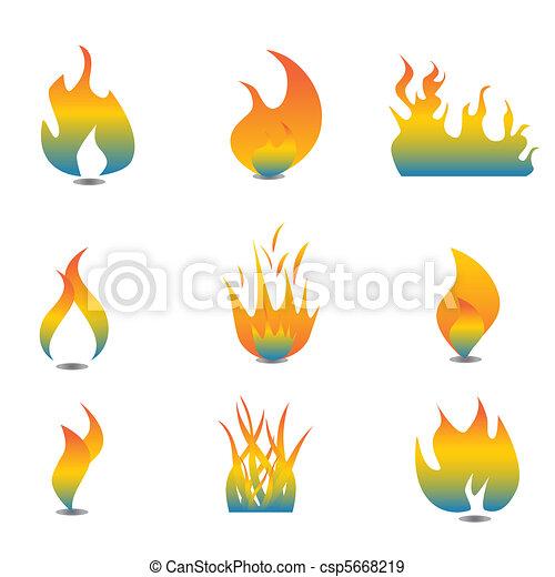 Flame icon set - csp5668219