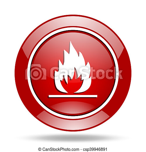 flame red web glossy round icon - csp39946891