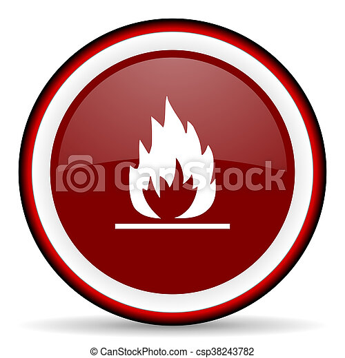 flame round glossy icon, modern design web element - csp38243782