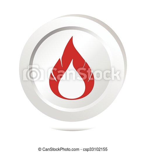 Flame sign button icon - csp33102155