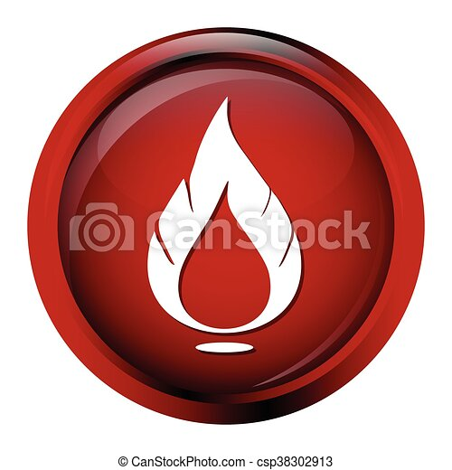 Flame sign button icon - csp38302913