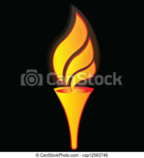 Flame torch for sports logo  - csp12063746