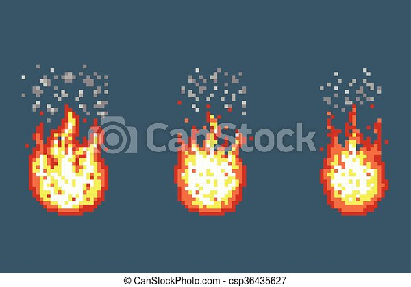Flame with smoke animation frames in pixel art style. smoke and ...