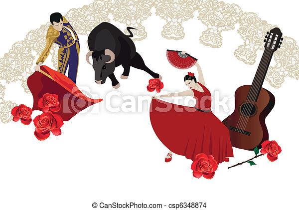 Flamenco and Bullfighting - csp6348874