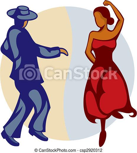 Flamenco Dancers vector - csp2920312