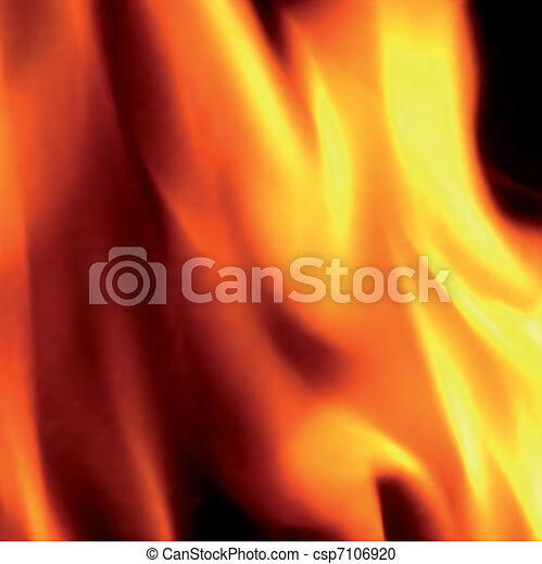 Flames of fire, close-up. Vector - csp7106920