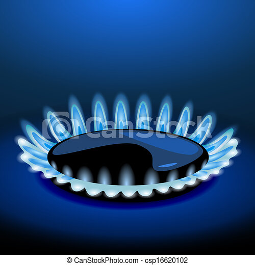 Flames of gas stove in the dark. Vector - csp16620102