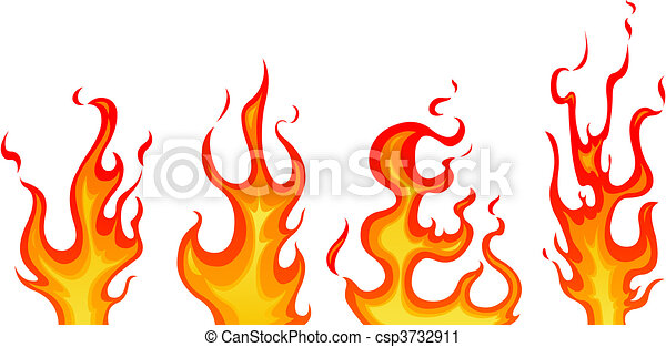 flames set of vector flames