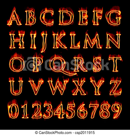 Flaming Alphabet and Numbers - csp2011915
