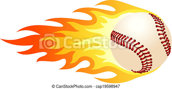 flaming baseball illustration of ball in fire for your designs rh canstockphoto com flaming baseball logo quiz Flaming Baseball Clip Art