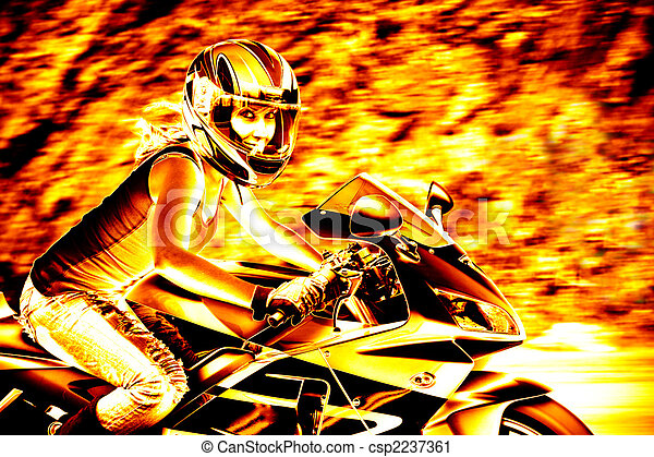 Flaming Biker Girl - csp2237361