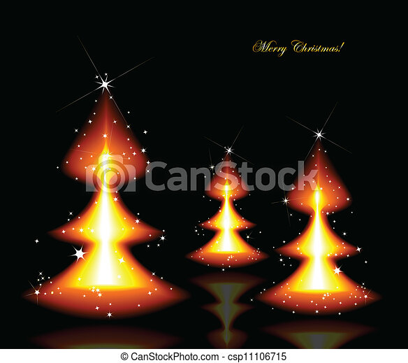 Flaming Christmas trees. Vector background - csp11106715