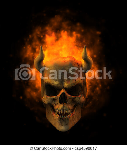 Flaming Demon Skull - csp4598817