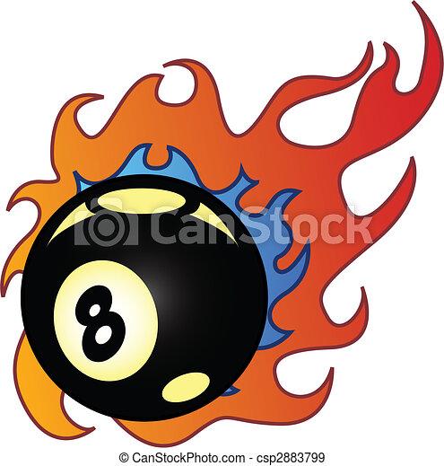 Flaming Eightball vector illustration - csp2883799