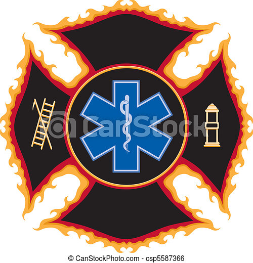 Flaming Fire Rescue Symbol - csp5587366