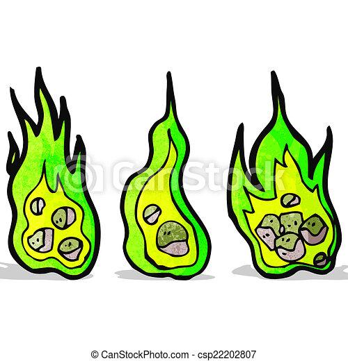 flaming green meteor cartoon - csp22202807