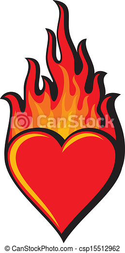 flaming heart (heart in flame) - csp15512962