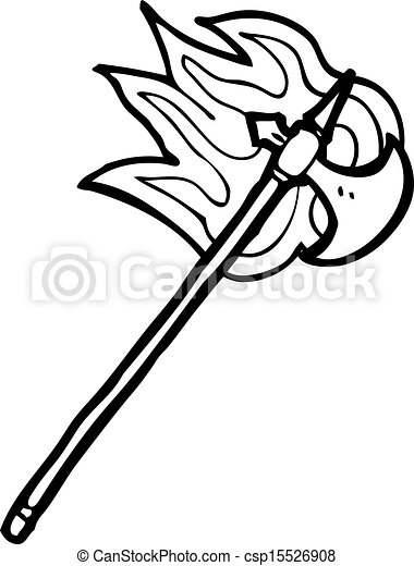 flaming medieval axe - csp15526908