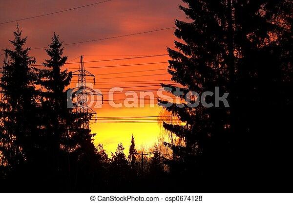Flaming Morning Sky - csp0674128