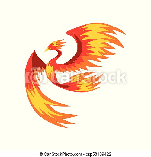 Flaming phoenix bird flying, bright mythical firebird vector Illustration on a white background - csp58109422