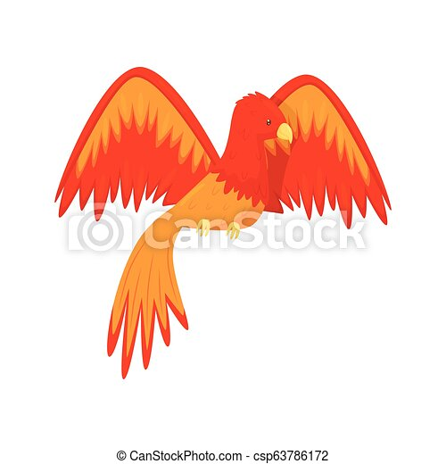 Flaming Phoenix bird mythical creature, fairy tale character from Slavic folklore vector Illustration - csp63786172