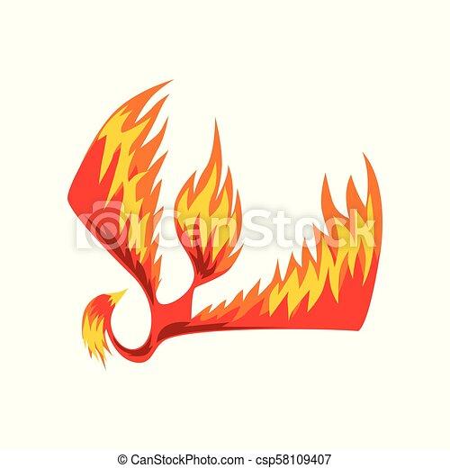 Flaming phoenix bird, mythical firebird vector Illustration on a white background - csp58109407