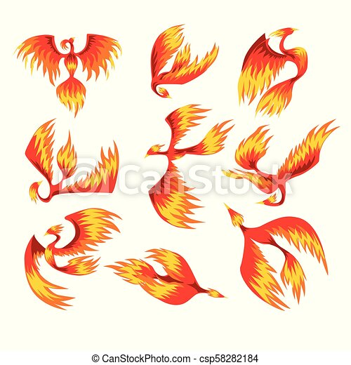 Flaming phoenix bird set, fairy tale character from Slavic folklore vector Illustrations on a white background - csp58282184