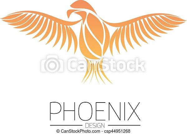 Flaming Phoenix Bird With Wide Spread Wings In The Orange Fire