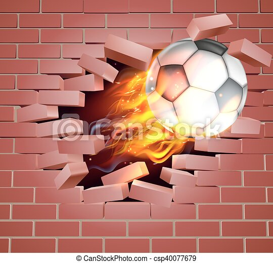 Flaming Soccer Football Ball Breaking Through Brick Wall - csp40077679
