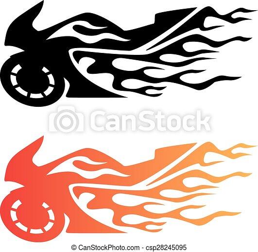 Flaming Sport Bike Motorcycle Logo - csp28245095