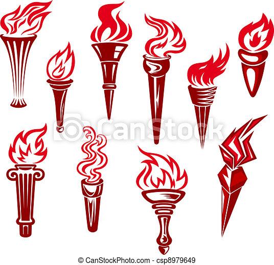 Flaming torchs - csp8979649